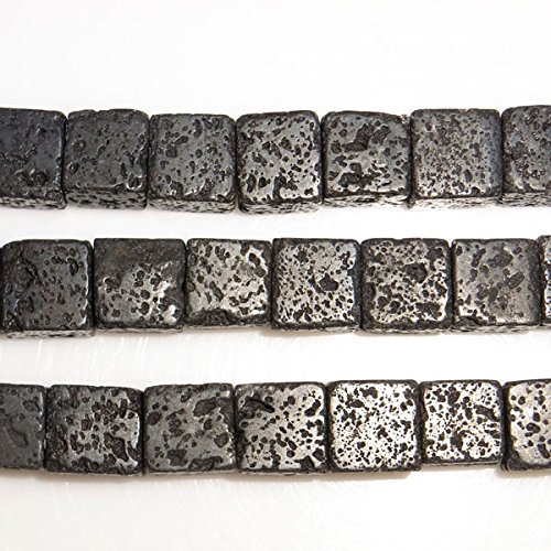 Würfel Kubus Natürlich Schwarz Lava Perlen 38cm Strang DIY Schmuckherstellung Zubehör Halskette Armband Basteln Selbermachen AMDE (Bulk-würfel Großhandel)