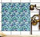 Klebefolie für Badfliesen | Küchen-Fliesen Aufkleber - Selbstklebende Fliesentattoos |Kachel Fliesen-Sticker - Wand-Fliesen Dekor | 20x20 cm - Motiv Mosaik Grün-Blau - 72 Stück