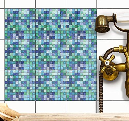 Klebefolie Fliesen-Mosaik | Fliesenaufkleber für Badezimmerfliesen und Küchenrückwand | Fliesenbilder - Kacheldekor - Fliesenposter | 15x15 cm...