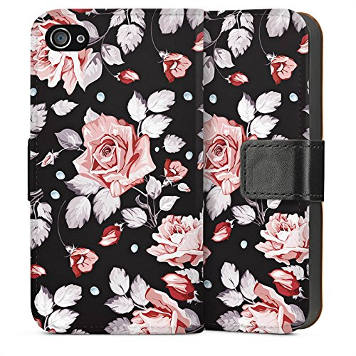 Apple iPhone 5c Housse Étui Protection Coque Roses Roses Roses Sideflip Sac