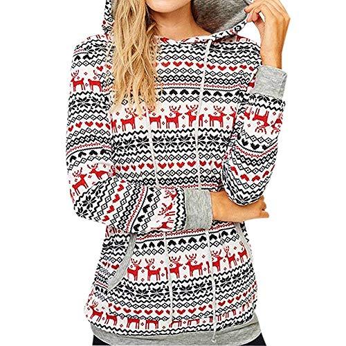 Geilisungren Damen Sweatshirt Weihnachten Bluse Frauen Hoodie Long Sleeve Rentier Druck Pullover Tops Slim Kapuzenpullover Langarmshirt Festlich Kostüm Christmas Bluse (Ref Kostüm Frauen)