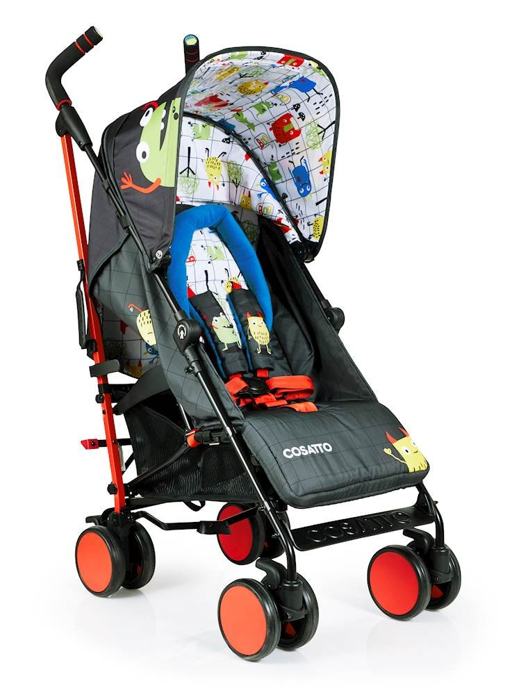 Cosatto Supa 2018 Baby Stroller, Suitable from Birth to 25 kg, Monster Mob Cosatto Suitable from birth up to 25 kg stroller; umbrella fold lightweight aluminium chassis with carry handle and folded free-standing feature For added comfort Supa 2018 has an integral upf100+ extended hood; one handed four position seat recline and adjustable calf support Supa 2018 has everything you need: Spacious storage basket, co-ordinating fleece lined footmuff, reversible washable liner, chest pads and recent born head hugger, rain cover and handy cup holder 2