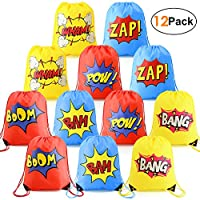 Superhero Party Bags Drawstring Backpacks 12 Bags Kids Party Ideas Reusable Favours Bags for Teen Boys Girls Yellow Blue Red