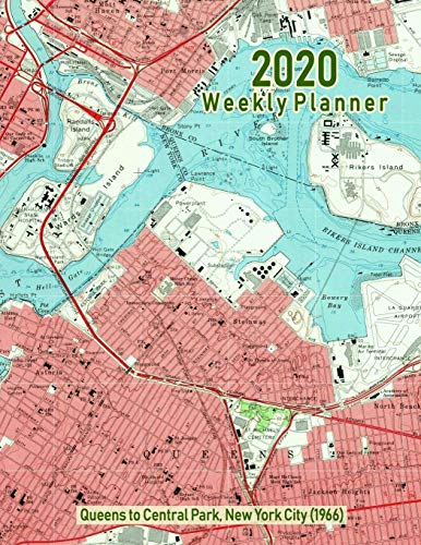2020 Weekly Planner: Queens to Central Park, New York City (1966): Vintage Topo Map Cover (Vintage New-york-city-map)