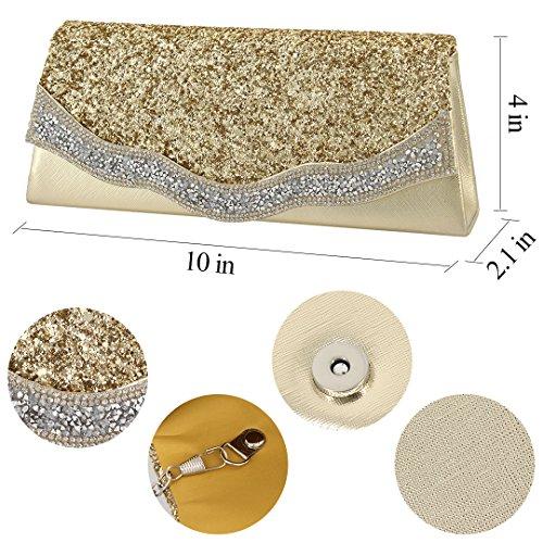 Borsa Da Sera A Tracolla Con Pochette Da Donna (oro) In Oro Con Elegante Borsa Da Sera Da Donna