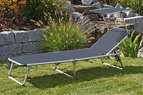 Gartenliege Dreibeinlige XL Liege Alu mit Dach extra hoch und 210 cm lang