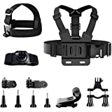 Anyingkai 11pcs Kit di Accessori per Action Camera,Fascia da Testa per Action Cam,Fascia da Testa per Cellulare,Imbracatura d