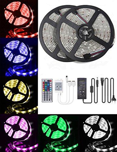 LED-Streifen-Licht 10M, 16 RGB-Farben LED Beleuchtung mit Fernbedienung Dimmen selbstklebend, IP65 Wasserfestes LED Lichterkette Inkl. 12V Driver und Eckverbinder, Verbindungskabel
