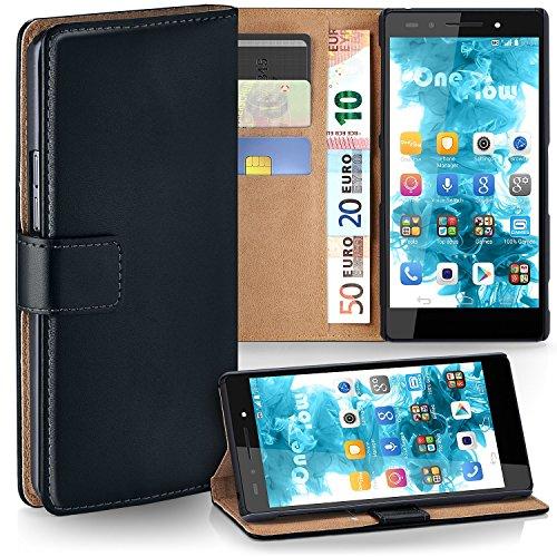 moex Huawei Honor 7 | Hülle Schwarz mit Karten-Fach 360° Book Klapp-Hülle Handytasche Kunst-Leder Handyhülle für Honor 7 / Honor 7 Premium Case Flip Cover Schutzhülle Tasche