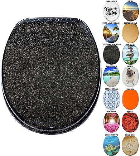 Preisvergleich Produktbild WC Sitz mit Absenkautomatik, viele neue WC-Sitze zur Auswahl, hochwertige Oberfläche, einfache Montage, stabile Scharniere (Glitzer Schwarz)