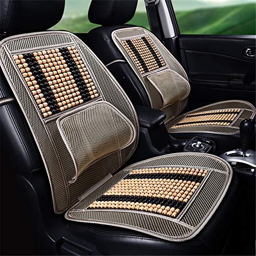 CULASIGN Universal Bambus Holz Autositz Sitzauflage Sommer Coole Kissen,Breathable Belüftung Bequeme Massage Rückenstütze Lordosenstütze (Holzperlen - Beige Kaffee)
