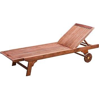 Wooden Reclining Sun Lounger Sunbed Garden Furniture