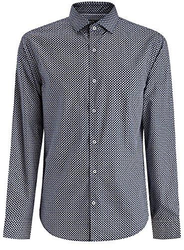 oodji Ultra Herren Hemd mit Druck Slim Fit Blau (7810G)