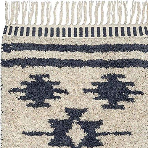 Liv Shaggy getuftet Baumwolle Teppiche und Läufer–Grau/Ecru, Mexiko, 70cm x 140cm