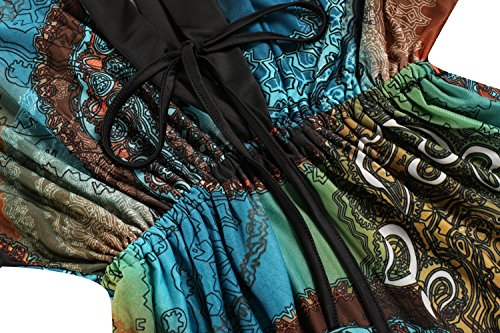 CRAVOG Sommerkleider Damen Strandkleider Lang Bohemia Kleider Elegante Ballkleider Seeblau