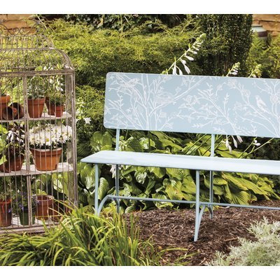Carville Bird Stories Metal Park Bench - An enchanting seat from which you can admire the beauty of your garden.