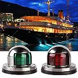 SeeKool Luces de Navegación para Barco, 12 V Navegación de LED de Acero Inoxidable Arco de Navegación Luces Marina de Yate, Lámpara de Señalización en Colores Rojo y Verde 2pcs