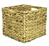 Natural Woven Water Hyacinth Deep Square Storage Basket Hamper Choice Of Sizes (Extra Large)