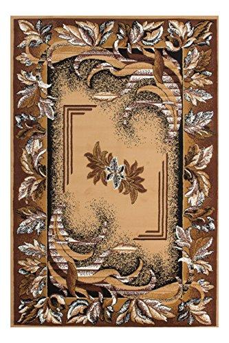 Teppich Wohnzimmer Carpet Orientalisch Modern Design Asia 002 RUG Blumen Muster Polypropylen 80x250 cm Beige/Teppiche günstig online kaufen