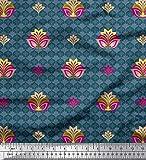 Soimoi Blau Seide Stoff künstlerische Blumen ethnisch