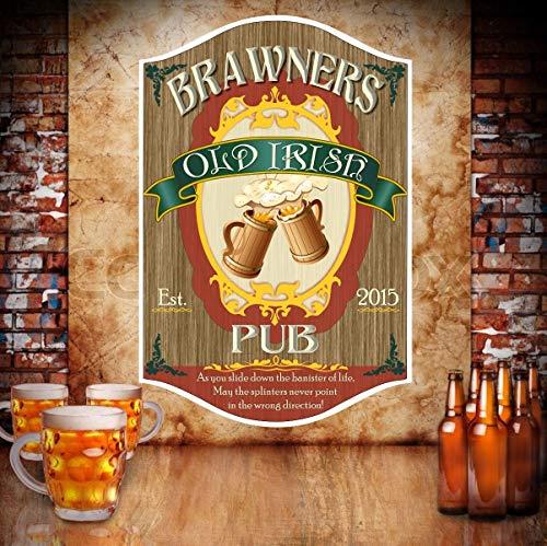 Evan332eddie old irish pub personalizzato targhetta in legno con boccali di birra e tradizionale font irish bar wood plaque sign bar decor irish tavern wood plaque sign bar legno [lingua inglese]