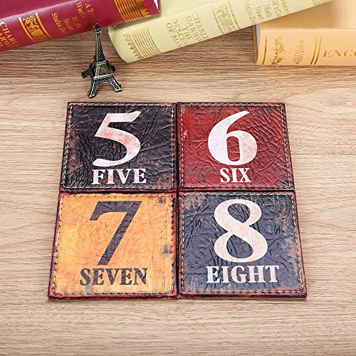 linkwell 10 x 10 cm PU-Leder Printed Set aus 4 Untersetzern Bar Untersetzer Tabletop Dekoration Home Furnishings Standard FC17R -