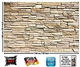 Stonewall / Muro di pietra FOTOMURALE - Asian Stonewall beige marrone - XXL quadro tappezzeria da parete /pietre decorazione da parete GREAT ART 140 cm x 100 cm