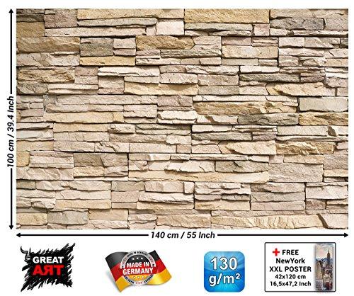 Naturstein Wand (Stonewall/Stonewall Fototapete-Asian Stonewall beige braun-XXL Bild Tapete Wand/Steine Wanddeko GREAT ART 140cm x 100cm)