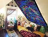 Tapiz bohemio de pared hecho a mano con un diseño de mandala de estilo indio de la luna y del sol hecho a mano para colgar de la pared, 100% algodón, multicolor, DESIGN 5