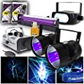 beamz 2x UV Glowing Party DJ PAR Can Lights Strobe Lighting Fog Machine + Cobweb