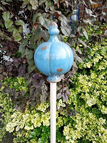 Manufaktur-Lichtbogen Große Gartenkugel aus Keramik blau - Rosenkugel für den Garten