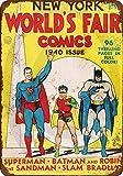 Yilooom 1940 World Comics Batman Robin Superman Plaque Murale rétro en métal pour décoration Murale, Métal, Multicolore, 12 x18 inches (30 x 45cm)