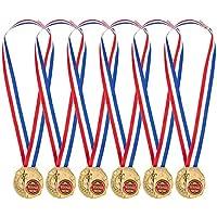 Pack de 6Medallas de Oro–ganador medallas para niños y adultos–fabricado de Metal–gran para todos los concursos y competiciones, oro, rojo, color blanco, azul