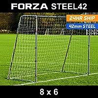 8 x 6 FORZA Steel42 Football Goal – The Strongest Portable Steel Goal Post & Net Package [Optional Target Training Sheet & Ball]