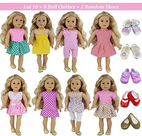 ZITA ELEMENT 10 Piezas Ropa Accesorios de Muñeca - 8 Sets Ropa Muñeca y 2 Pares Zapatos de Estilo Aleatorio para American Gril Doll, Los Accesorios se Ajustan a Las Muñecas de 16-18 Pulgadas / 40-46 cm