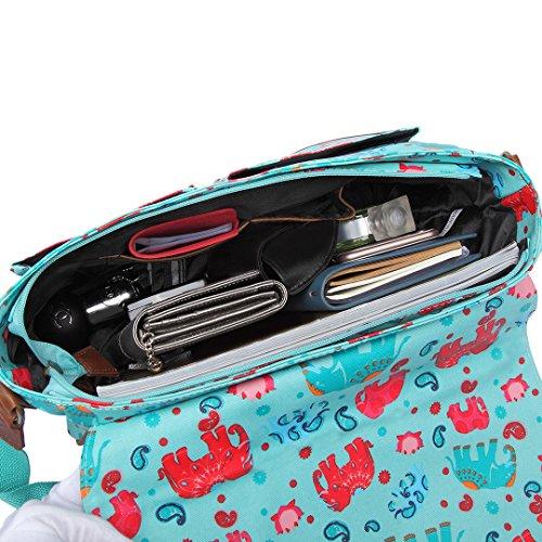 Miss Lulu Borsa de donna Borsa messenger Borse incrociate di fiore di uccello di cartella di scuola (L1107CT Beige) L1107E Blu chiaro