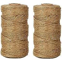 Joykey (600 pieds)2 Bobines Ficelle Naturel Jute corde 3 ply résistant DIY artisanat ficelle de jute pour l'emballage cadeau, décoration de mariage, jardin