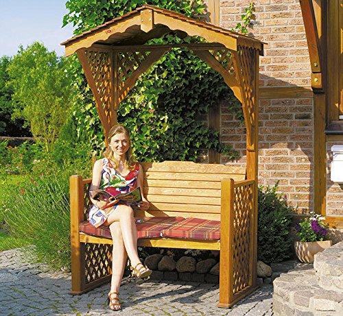 PROMADINO Gartenlaube STARNBERG 142x80x220cm Sitzbank mit Sitzauflage Gartenbank Holz