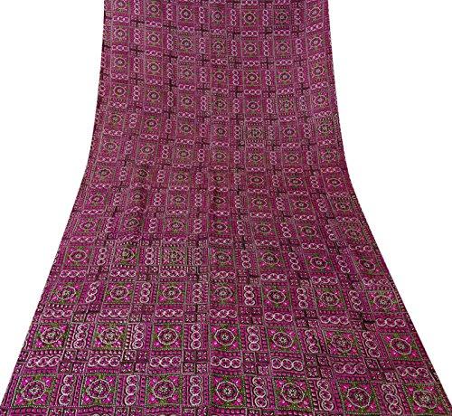 Indian Vintage-Sari 100% Seide Rosa Blumenmuster Saree Ethnische Handwerk Stoff 5YD (Rosa Sari Seide)
