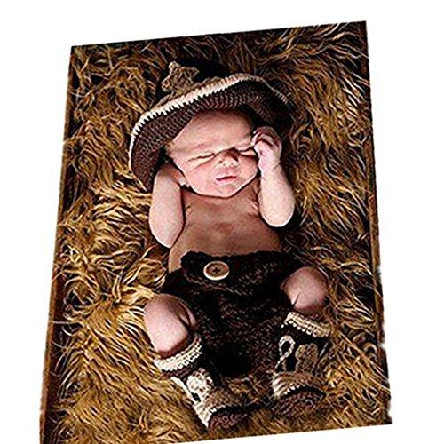 Neugeborenen Foto Kostüm Junge Mädchen Outfit Baby Fotografie Requisiten Cowboy Hüte Hose (Neugeborene Hut Cowboy)