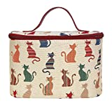 Signare Womens Vanity Bag/ Toiletry Case/ Make-Up Case, Available in 14 Designs (Cheeky Cat) by Signare