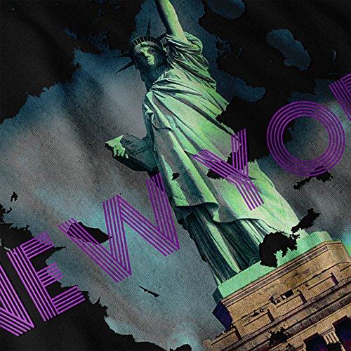 Nouveau York Liberté Ville Etats-Unis Femme S-2XL Sweat à capuche le dos | Wellcoda Noir