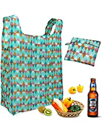 Reusable Grocery Bags Set Of 3, Aiduy Reusable Shopping Bags Grocery Tote Bags Foldable Into Attached Pouch Ripstop...