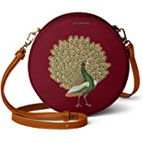 DailyObjects Maroon Peacocking Orbis Round Sling Crossbody Bag for girls and women   Vegan leather, Stylish, Sturdy, Zip clos