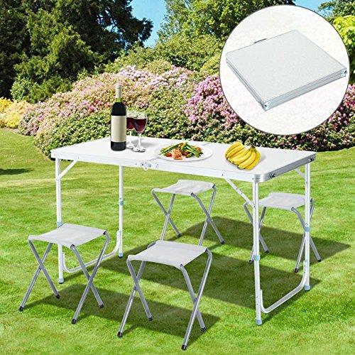 Bakaji tavolo tavolino da campeggio 120 x 60 cm regolabile in altezza pieghevole formato valigia facile da trasportare, ideale per picnic giardino spiaggia con 4 sgabelli pieghevoli alluminio