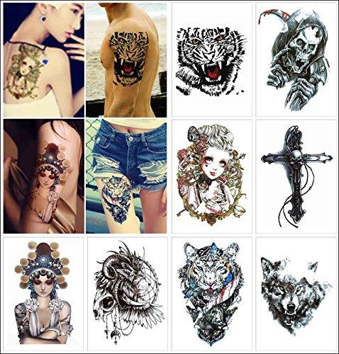 Cokohappy 8 diverso foglio temporanei temporaneo tatuaggi tattoo tigre bellissimo donna leone croce cranio teschio