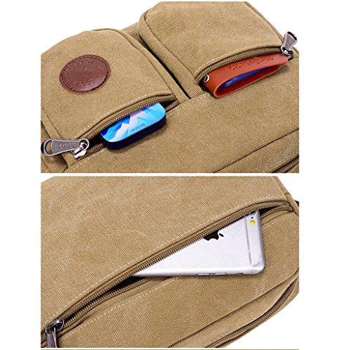 Super Moern, borsa messenger a tracolla da uomo, in tela resistente, in stile vintage, piccola, con cinturini e tasche multiple, Uomo, Dark Blue Coffee