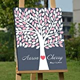 Custom Wedding Guest Book Alternative Art Canvas Print Signature Family Tree Personalized Wedding Gifts 100 Leaves for Soliciting Signatures 16x20 inch Wedding Guestbook Poster Pink and White by KliwKlol
