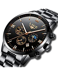 Mens Watches LIGE Stainless Steel Black Classic Luxury Business Casual Watches With Moon Phase Waterproof Multifunctions Quartz Wrist Watch For Mens