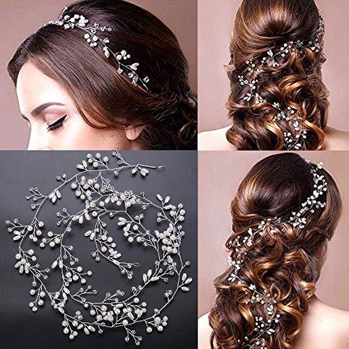 Cerchietto per capelli da sposa, stile vintage, con perle di cristallo e strass, accessorio per capelli per donne e ragazze, 1 m, colore: argento